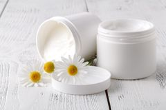 Opened plastic container with cream and chamomile flower on a li. Ght background. Herbal dermatology cosmetic hygienic cream. Natural beauty product royalty free stock image