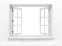 Opened plastic window. 3d render royalty free stock photo