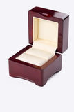 Opened present box for jewerly on white background Royalty Free Stock Photos