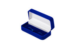 Opened present box for jewerly on white background Royalty Free Stock Photo