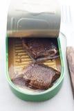 Opened può del pesce Immagini Stock
