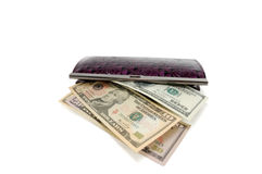 Opened purse with dollars Stock Image