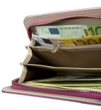 Opened purse with money Stock Photo