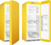 Realistic retro style kitchen refrigerator, painted in yellow color. Vector illustration set isolated on white background. royalty free illustration
