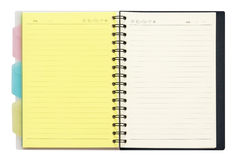 Opened recycle note book on white background, clipping path. Stock Photo