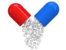 Opened red blue pill capsule. 3D Royalty Free Stock Photos