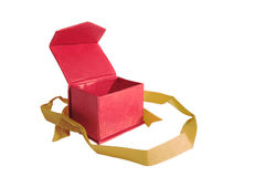 Opened red box with gold ribbon, isolated on white background Royalty Free Stock Photo