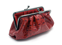 Opened red clutch bag Stock Photography