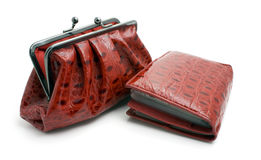 Opened Red Clutch Bag And Wallet Royalty Free Stock Photos