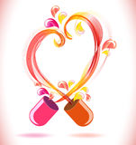 Opened red color pill with abstract heart Stock Images