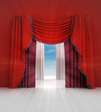 Opened red curtain with blue sky flare Stock Photos