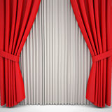 Opened red curtain lit Spotlight Royalty Free Stock Images