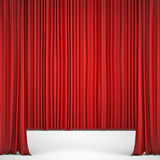 Opened red curtain lit Spotlight Royalty Free Stock Image