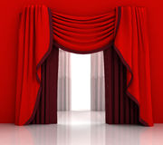 Opened red curtain with white background Stock Photos