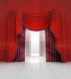 Opened red curtain with white light flare Stock Image