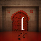 Opened red doorway in the wall with footprints Royalty Free Stock Images