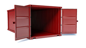 Opened red freight container  on white background Stock Image