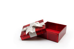 Opened red gift box. An opened red gift box with white ribbon, for any occasion Royalty Free Stock Photo