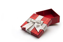 Opened red gift box. An opened red gift box with white ribbon, for any occasion Royalty Free Stock Photos