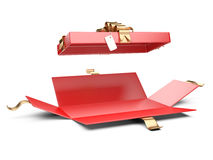 Opened red gift box blank with golden ribbon and bow. Stock Image