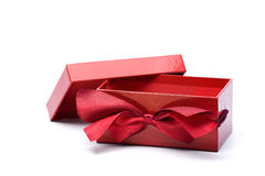 Opened red gift box with lanyard Royalty Free Stock Images