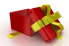 Opened red gift with gold ribbon Stock Photos