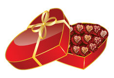 Opened red heart shaped gift box Royalty Free Stock Photography