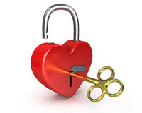 Opened red lock formed as heart with a golden key Stock Photos