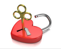 Opened red lock formed as heart with a golden key Stock Images
