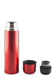 Opened red metal thermos Royalty Free Stock Photo