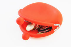 Opened red purse. Opened vintage red purse isolated on white Stock Photo