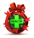 Opened red ribbon gift sphere with green health cross inside Royalty Free Stock Images