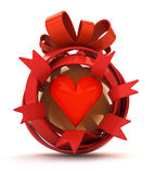 Opened red ribbon gift sphere with red hearth inside Stock Photography