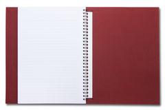 Opened red spiral notebook isolated Stock Photo
