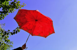 Opened red umbrella in the blue sky Stock Photo