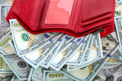 Opened red wallet with money Royalty Free Stock Photography