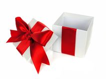 Opened red and white gift box isolated Royalty Free Stock Photos