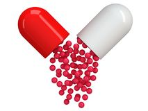 Opened red white pill capsule. 3D Stock Photography