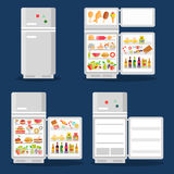 Opened refrigerator with food in flat style Royalty Free Stock Images