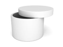 Opened round box with cover on white background Royalty Free Stock Photo