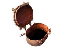 Opened rusty manhole isolated on white background Stock Photos