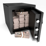 Opened safe with bank notes. Fifty dollars. Opened safe with bank notes on white background. Fifty dollars. 3D illustration Royalty Free Stock Photo