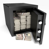 Opened safe with bank notes. Five dollars. Royalty Free Stock Image