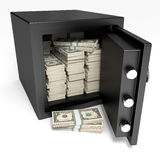 Opened safe with bank notes. One dollar. Stock Image