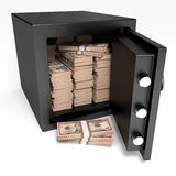 Opened safe with bank notes. Ten dollars. Stock Photo