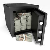 Opened safe with bank notes. Twenty dollars. Stock Images