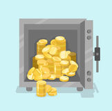 Opened safe with coins in front view. Flat style Stock Photography