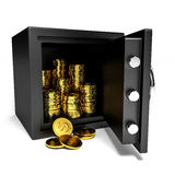 Opened safe with gold coins. Royalty Free Stock Photography