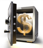 Opened safe with gold dollar symbol 3d. Opened safe with gold dollar symbol isolated on white background. 3d render Royalty Free Stock Images