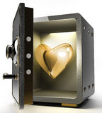 Opened safe with gold heart isolated. On white background. 3D render Stock Photos